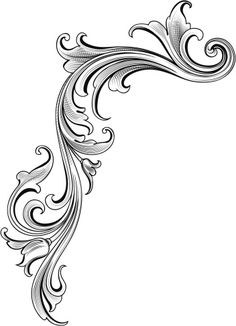 Vector - Designed by a hand engraver, this detailed intertwining. Baroque Tattoo, Filigree Tattoo, Skull Tattoo Flowers, Flower Tattoos, Motif Arabesque, Molduras Vintage, Traditional Tattoo Flowers, Ornament Drawing, Tattoo Lettering Fonts