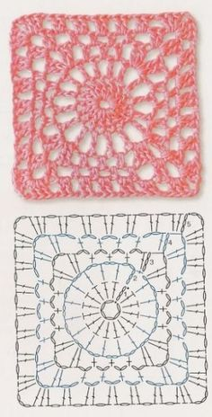 Gabriela Delicacies in crochet: Free Patterns; Crochet Motif Patterns, Crochet Blocks, Granny Square Crochet Pattern, Crochet Diagram, Crochet Chart, Crochet Squares, Crochet Granny, Filet Crochet, Knit Crochet