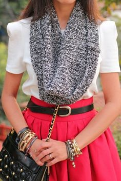 white blouse, infinity scarf, red a-line skirt, black cross body, gold jewelry