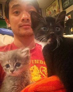 I do not believe there is a single picture out there that is better than Osric with kittens. This is the definition of adorable and I have died Taking Care Of Kittens, Kevin Tran, Jared Supernatural, Osric Chau, Kitten Drawing, Picture Watch, Minor Character, Destiel, Superwholock
