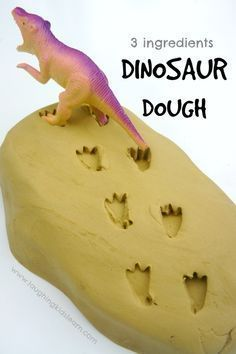 3 ingredient Dinosaur Dough is so easy to make and fun activity for kids to play with - Laughing Kids Learn (Ingredients Art Sensory Activities) Dinosaurs Preschool, Dinosaur Activities, Dinosaur Crafts, Fun Activities For Kids, Sensory Activities, Sensory Play, Crafts For Kids, Sensory Diet, Sensory Table