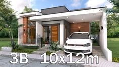 Home Design Plan with 3 Bedrooms. This villa is modeling by SAM-ARCHITECT With 2 stories level. It's has 3 bedrooms.Simple Home Design Simple House Design, Minimalist House Design, Modern House Design, Modern Contemporary House, Single Floor House Design, Small Modern Home, Style At Home, Modern Style Homes, Modern House Facades