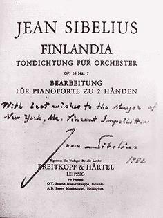 Sibelius inscription to Mayor of New York City, Finlandia music suite