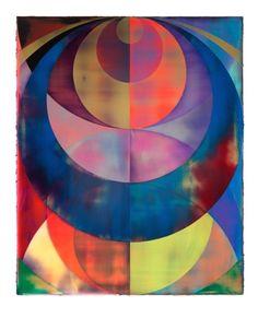 <i>Orb (Technicolor Haze)</i><br> Acrylic on canvas<br> 82.7 x 66.9 inches<br>shannon finley 2013
