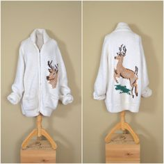 vintage white oversized cardigan // 1970s handmade stag sweater // cozy winter warmer // oversized by langvintage on Etsy