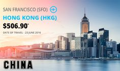 Today's one-way special ‎deals‬ for ‎SAN FRANCISCO‬ (SFO) to HONG KONG‬ (HKG) Fare $506.90* DATE OF ‎TRAVEL‬ 23June16