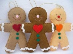 Gingerbread man ornaments - Felt Gingerbread Man - ONE ornament You will receive ONE ornament. ONE adorable Christmas ornaments hand stitched from felt with a small details in red, green, white pink and orange. Hangs from pretty christmas gold ribbon. Felt Christmas Decorations, Felt Christmas Ornaments, Handmade Christmas, Christmas Fun, Christmas Clipart, Handmade Felt, Christmas Projects, Felt Crafts, Holiday Crafts