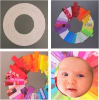 Cut up old magazines to make a rainbow wreath! Nice for learning color identification and sorting.