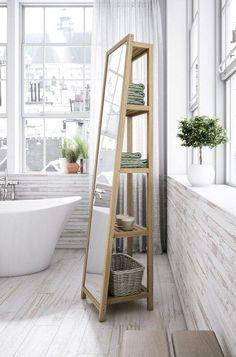 Espejo con estantes para el baño Ladder Decor, Bathtub, Home Decor, Mirror With Shelf, Tabletop, Shower Stalls, Toilet Shelves, Modern Bathroom Design, Mirrors