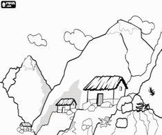 Mountain coloring page bergen Coloring Pages Nature, Free Coloring Pages, Coloring Books, Doodle Drawings, Doodle Art, Pencil Drawings, Bergen, Pinterest Pinturas, Simple Line Drawings