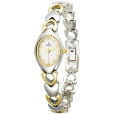 Show the world your shining love of life with this brilliantly polished, two-tone Bulova stainless steel women's dress watch. It's highlighted by the distinctive stainless steel bracelet, which mixes silver and hollow gold-tone heart shapes. It features a thin-profile, elongated oval silver watch case that measures 16mm wide, and it frames the white dial face with a thin gold outline. The dial has a full Arabic numeral display in gold-tone. You Save: $41.25 (25%) $123.75