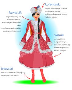 Detailed descriptions (in Polish) of the most iconic Polish costumes - traditional noblewoman's costume. Folk Costume, Costume Dress, Costumes, Polish Clothing, Polish Folk Art, Arte Popular, My Heritage, Historical Costume, Looks Cool
