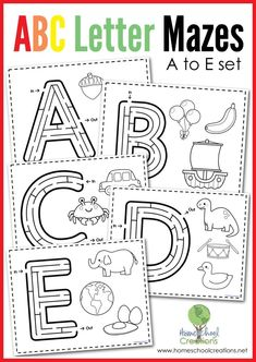 Alphabet Mazes - ABC letter mazes (a to e set). Each page includes a simple maze inside the letter and three coloring images that represent the beginning sound for the letter. From Homeschool Creations.