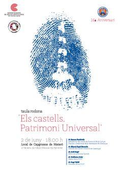 """Taula rodona """"Els castells, Patrimoni Universal"""". 16è aniversari Capgrossos de Mataró. Disseny: Grambarcelona"""