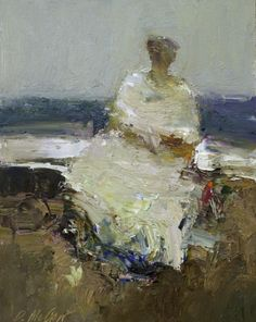 "Dan McCaw, ""Untitled, Woman on the Beach"", Oil on Board, 12x9 - Anne Irwin Fine Art"