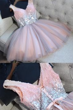Sequined V-neck Tulle Homecoming Dress Sexy Shining Short Prom Dress Party Dress,Mini Dress,N250 #homecomingdress #homecoming #promdress #dress #mini #party #partydress