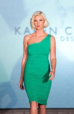 Green One Shoulder Dress - Karen Caldwell Design The Emmys, St Helena, Cool Designs, Dressing, Girly, House Design, Formal Dresses, My Style, Party Time