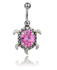 Body Frenzy - Turtle Steel Belly Ring With Pink Inset Gemstone, $9.99 (http://www.bodyfrenzy.com/turtle-belly-ring-pink-gemstone/)