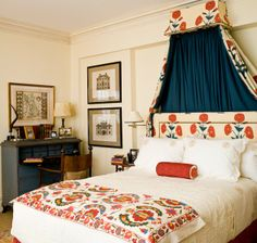 charming print on headboard and tester - love contrasting navy on inside of tester - great desk - Sara Gilbane Interiors 2.20.2013