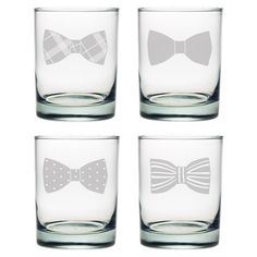 Enjoy an after-dinner cocktail with this whimsical double old fashioned glass, showcasing a sand-etched bowtie detail. (Joss and Main)