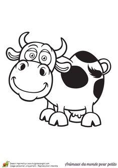 La vache est une bête de ferme très répandue en Afrique, dessin à colorier