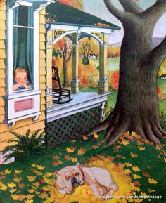 1960s AUTUMN FALL BULLDOG Print Ideal for Framing by sandshoevintageprint on Etsy