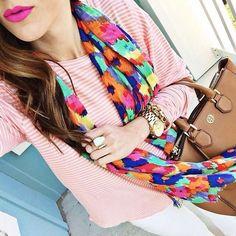 stripe top & floral scarf