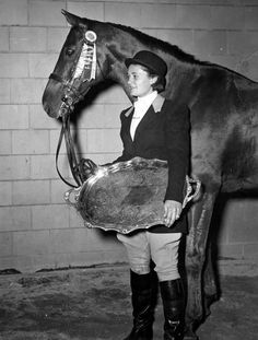Barbara Pease Camp. AHSA Medal Finals Champion of 1948 shown here at the 1951 Pennsylvania National Horse Show.