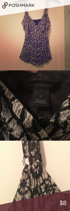 Express - Women's dress tank top Black and white dressy tank top. Cinches at the waist! Barely worn. Express Tops Tank Tops