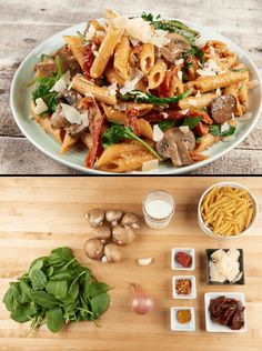 Penne Pasta with Sun-Dried Tomato Cream with cremini mushrooms, spinach, and Parmesan