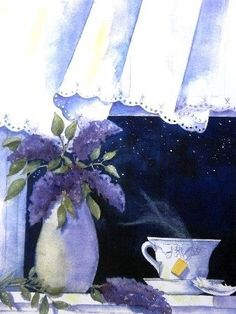 """""""Tea and Lilacs"""" by Gayle Dowell  Lovely watercolor painting~"""