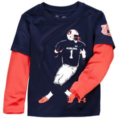 Auburn Tigers Under Armour Toddler Neon Player Long Sleeve Performance T-Shirt- Navy - $26.39