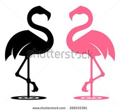 Flamingo stylized silhouette in black and pink colour variants. - stock vector