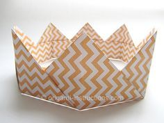 Paper crown!    I made mine using 1/4 sized squares for a daintier look.