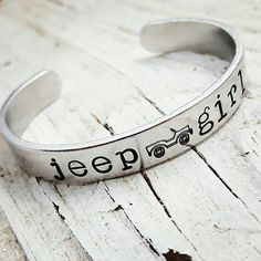 Jeep GirlHand stamped bracelet Jeeps are by DanielaReneeDesigns