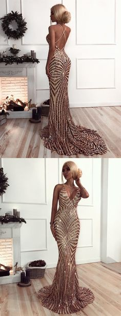 Mermaid V-Neck Sweep Train Backless Rose Gold Sequined Prom Dress, modest rose gold sequined mermaid prom dresses, unique v neck criss cross straps backless evening dresses #prom2018