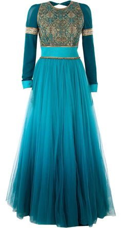 Teal embroidered anarkali set available only at Pernia's Pop-Up Shop. by leila Anarkali Dress, Pakistani Dresses, Indian Dresses, Indian Outfits, Indian Attire, Indian Wear, Pretty Dresses, Beautiful Dresses, Long Dresses