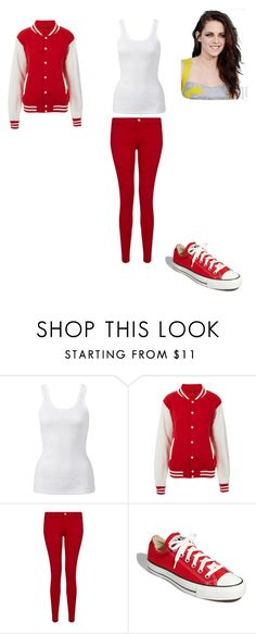 """Rouge ! =P"" by yaya-kagamine ❤ liked on Polyvore featuring Forever New, Topshop, Current/Elliott and Converse"