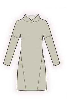 Tunic - Dress With Shaped Stand Collar  - Sewing Pattern #4590 Made-to-measure sewing pattern from Lekala with free online download. Close-fitting, Darts, Insets, Stand collar, Long sleeves, In-seam pockets