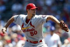 starting pitcher Adam Wainwright throws against the Chicago Cubs during the first inning...Cards won the game 6-1.  8-18-13