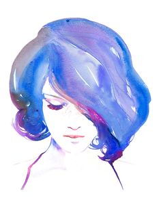 Impression d'une Illustration de mode aquarelle par Cate Parr. Cheveux roses intitulé - Bluebell