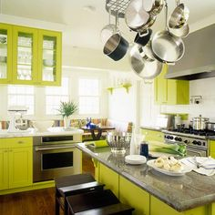 Best Color Spotlight Chartreuse Green Kitchen Cabinets 400 x 300