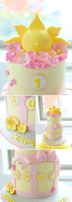 Sunshine Themed Birthday Cake...This is SOOOO CUTE!!! Wish I could decorate cakes like this....one day;)