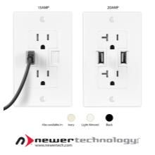 Newer Technology Power2U AC Wall Outlet with USB Charging Ports - the ultimate energy-efficient in-wall solution for powering and charging USB devices! #ptpawinner