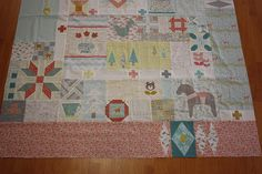 Cindy finished her Penny Sampler quilt top from Rachel at Stitched in Color. So many beautiful details.              And the back!