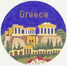 "Silver Needle Greece handpaint 4.25"" Rd. Needlepoint Canvas Ornament"