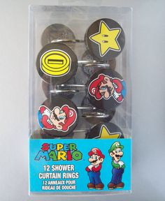Nintendo's Super Mario 12 Shower Curtain Rings/Hooks in Total For Your Bathroom #FrancoManufacturingCompanyInc