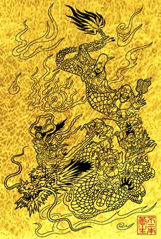 Goddess Art, Chinese Dragon, Japanese Design, Paper Cutting, Iphone Wallpaper, Illustration, Gold, Painting, Yahoo
