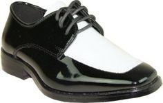 VANGELO Boy Tuxedo Shoe Two Tone Square Toe for Wedding Formal Event
