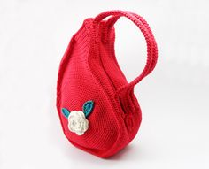PDF pattern - Unique Teardrop Shape Bag Crochet Purse Pattern Unusual Crochet Handbag Pattern Flower Crochet Pattern - P0013